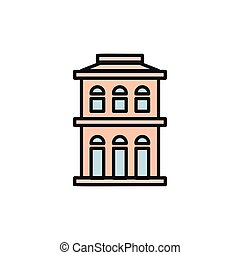 Isolated pink color low-rise municipal house in lineart...