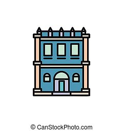 Isolated blue color low-rise municipal house in lineart...
