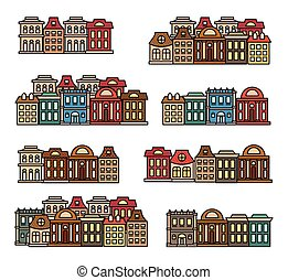 Isolated colorful low-rise houses,city elements vector...
