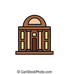 Isolated brown color low-rise municipal house in lineart...