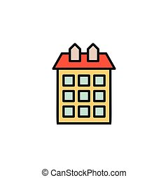 Isolated orange color low-rise municipal house in lineart...
