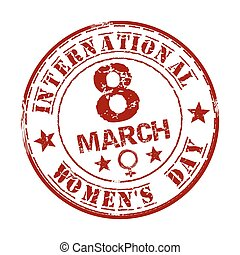 Red grunge rubber stamp with the text International Womens Day written inside. March 8