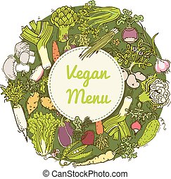 pattern with vegetables and herbs - Round design pattern...