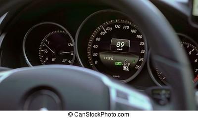 Digital speedometer in car driving - Digital speedometer...