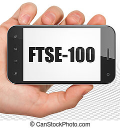 Stock market indexes concept: Hand Holding Smartphone with...