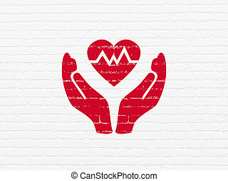 Insurance concept: Heart And Palm on wall background -...