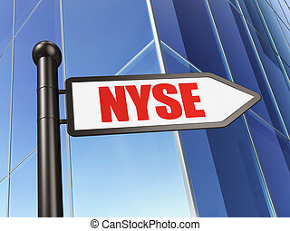 Stock market indexes concept: sign NYSE on Building...
