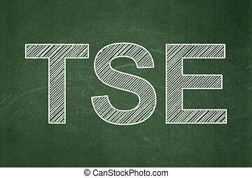 Stock market indexes concept: TSE on chalkboard background