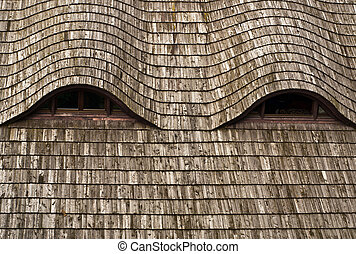Wooden roof of medieval castle in Niedzica, Poland