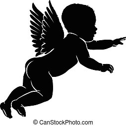 Silhouette little cupid - Angel baby silhouette with wings.