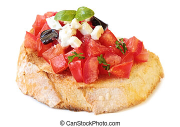 Bruschetta, with luscious diced tomatoes, goats cheese,...