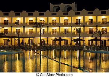 Resort hotel at night
