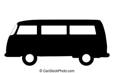 RV Camper Van Silhouette - An RV camper van silhouette...