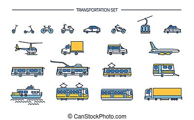 Lineart icon set with ground transport, aviation and water transportation on white background. Collection with bike, bus, trolley, subway, train, car, airplane, scooter, funicular, tram, plane, boat.