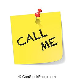 Call Me Yellow Sticky Note With Pin
