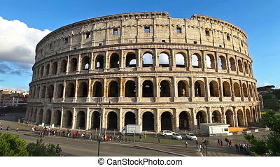 coliseum and Rome traffic - Sunset in real time of traffic...