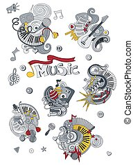 Cartoon hand drawn doodles Music illustration. Colorful detailed, with lots of objects vector background
