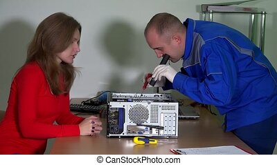 Technical engineer man explain curious customer woman...