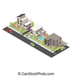 Isometric Suburban District Concept - Isometric suburban...