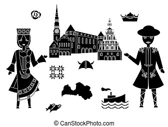welcome to latvia - set in the style of a flat design on the...
