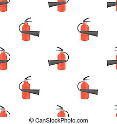 Red Metallic Extinguisher Seamless Pattern on White...