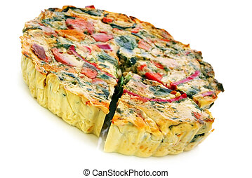 Vegetable Quiche - Roasted vegetable quiche, with a wedge...