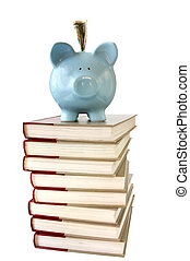 College Savings - Piggy bank on pile of reference books...