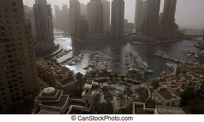 beautiful aerial view on bay with yachts and embankment...