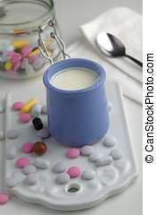 Vanilla yogurt with candies