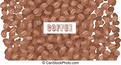 emblem coffee with coffee beans - coffee inscription on...