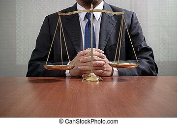 escala, escritório, justiça, conceito, macho, madeira, advogado, tabela, bronze, lei