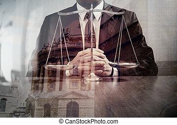 cidade, escala, advogado, escritório, justiça, conceito, macho, madeira, Londres, fundo, dobro, tabela, bronze, lei, exposição