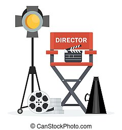 director chair and spotlight - Film directors chair with...