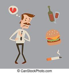 Businessman heart risk man heart attack stress infarct vector