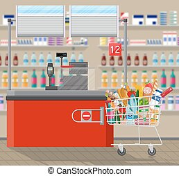 Cashier counter workplace. Supermarket interior -...