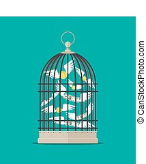 Bird cage with flying money. Investment and savings. Vector...