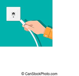 RJ45 LAN cable in hand and network socket. Internet. Vector...