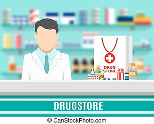 Modern interior pharmacy or drugstore. Medicine products on...
