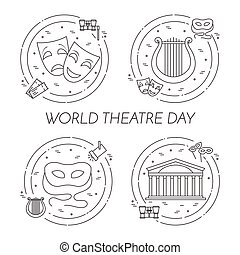 Set of theatre related banners for world theatre day