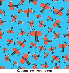 Red Metallic Extinguisher Seamless Pattern on Blue...