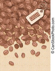 label coffee with coffee beans - illustration of coffee...
