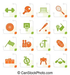 Stylized Sports gear and tools - vector icon set