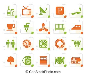 Stylized Hotel and Motel objects icons - vector icon set