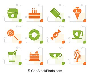 Stylized Sweet food and confectionery icons - vector icon...