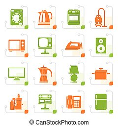 Stylized home equipment icons