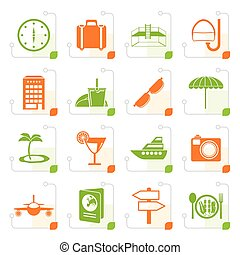 Stylized travel, trip and tourism icons