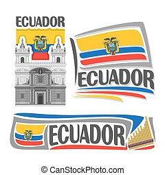 Vector logo Ecuador, isolated images: church St. Francis in...