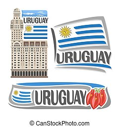 Vector logo Uruguay, isolated images: salvo palace in...