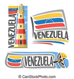 Vector logo Venezuela, 3 isolated images: isla margarita...