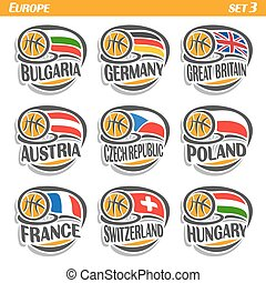 Vector set Flags of European Countries with Basketball Ball:...